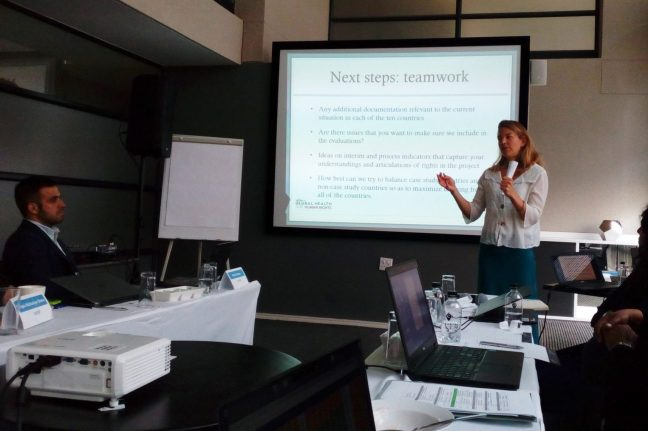 Laura Ferguson presents findings at African Regional HIV Grant meeting in South Africa.