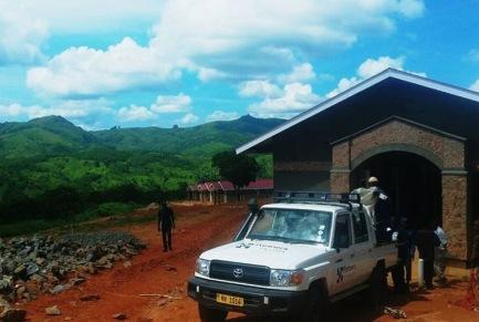 Unloading equipment at Dambe Health Center