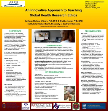 An Innovative Approach to Teaching Global Health Research Ethics
