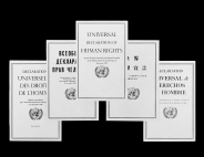 """Reproduction of the covers of the French, Russian, English, Chinese and Spanish editions of the pamphlet: """"Universal Declaration of Human Rights"""" published by the Department of Public Information. UN Photo Photo # 182920"""