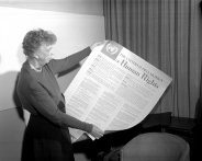 Universal Declaration of Human Rights Eleanor Roosevelt of the United States holding a Universal Declaration of Human Rights poster in French. UN Photo November 1949 United Nations (Lake Success), New York Photo # 83980