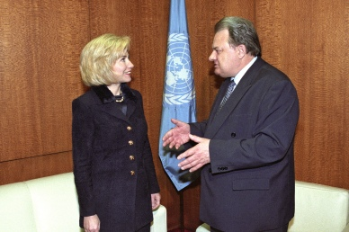 Hennadiy Udovenko (right), Ukraine, President of the fifty-second session of the General Assembly, meeting with Hillary Rodham Clinton, First Lady of the United States of America, prior to the Human Rights Day Programme launching the Fiftieth Anniversary of the Universal Declaration of Human Rights. UN Photo/Eskinder Debebe 10 December 1997 United Nations, New York Photo # 300898