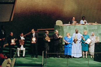 As the General Assembly marked the 45th anniversary of the Universal Declaration of Human Rights, prizes were awarded to individuals and organizations for their outstanding contributions to the protection of human rights of people around the world. Secretary-General Boutros Boutros-Ghali (fifth from right) and James P. Grant (sixth from right) are seen with the recipients of the awards. UN Photo/Jimmy Bu 10 December 1993 United Nations, New York Photo # 65378